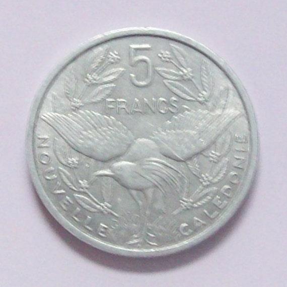 1952 New Caledonia Kagu Bird 5 Franc Coin
