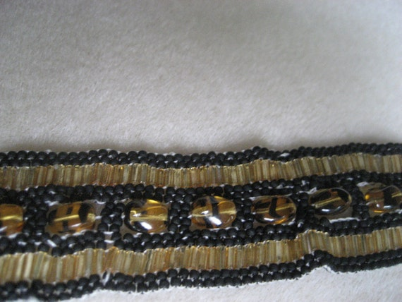 Black and Gold Cuff Bracelet with Tiger-Striped Glass Beads