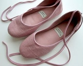 Handmade Vegan Ballet Flats in Pink Satin and Hemp - 902E Reserved for Haley