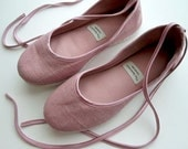 Handmade Vegan Ballet Flats in Pink Satin and Hemp - 902E