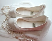 Handmade Vegan Bridal Flats with Tulle Trim - 902M (satin) size 8.5 Ready to Ship