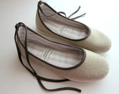 Size 7 and 8 Ready to Ship Eco-chic Ballet Flats in Beige and Brown - 902F