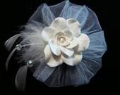 Snow White Petite Fascinator or Hat Ornament