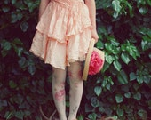 VTG 80s party prom new wave lace satin peach dress 3