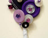 CUSTOM DESIGNED VINTAGE BRIDAL BUTTON AND BEAD CORSAGE