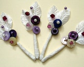 CUSTOM DESIGNED VINTAGE BRIDAL BUTTON AND BEAD BOUTONNIERE\/BUTTONHOLE