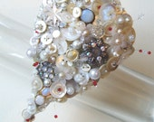 VINTAGE OPAL AND RED  BUTTON BOUQUET (CUSTOM PIECE FOR EVEOLUTION)