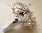 ROUND VINTAGE BRIDAL BUTTON AND BEAD BOUQUET (RESERVED FOR NIKITA0)