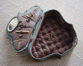 Vintage Sewing Box Victorian Blue Velvet