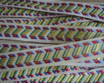 Vintage Ribbon Woven Red and Blue 9 Plus Yards