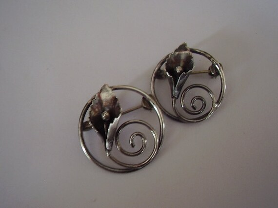 Vintage Sterling Brooches Flowers