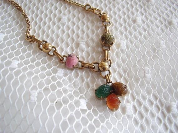 Vintage Scarab Necklace Egyptian Revival  WRF 12K Gold Filled