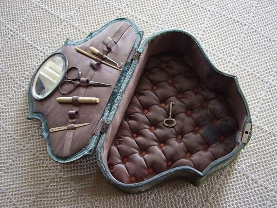 Vintage Sewing Box Victorian Blue Velvet