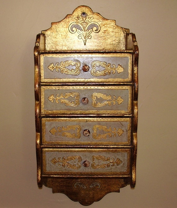 Reserved for Renell Vintage Wall Box Florentine Tole 4 Drawers
