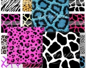 New Animal Prints Digital Collage ( 433) Sheet 1.5 inch squares for glass tiles,resin pendants, Pebble magnets ,stickers ........