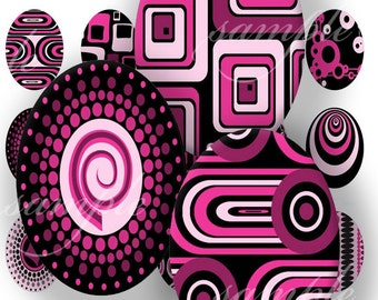 Pink Retro Designs Digital Collage (369) Sheet 25x18 mm Oval for pendants, magnets, glass tiles ....