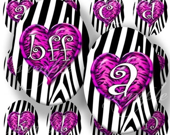 Purple Wild Hearts Alphabet Digital Collage (323) Sheet 40x30 mm Oval (2 pages) for pendants, magnets, glass tiles ....