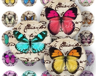 Lovelly Butterflies Digital Collage ( 357 ) Sheet 3/4 inch circles (0.85) for resin pendants, glass tiles, pebble magnets and more...