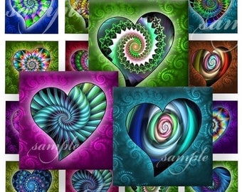 Spiral Hearts Digital Collage ( 257) Sheet 1 inch square images for resin pendants magnets glass tiles stickers ..