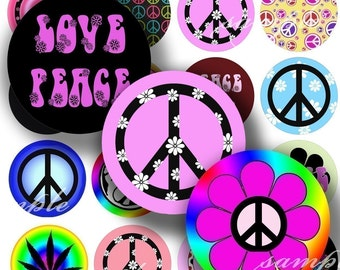 Peace And Love Digital Collage ( 172) Sheet 1 inch Circles Bottle cap images glass tiles resin pendants bottlecaps .....