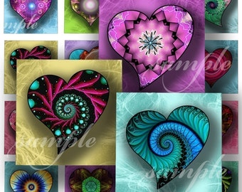 Magical Hearts Digital Collage ( 216) Sheet 1 inch square images for resin pendants magnets glass tiles stickers ..