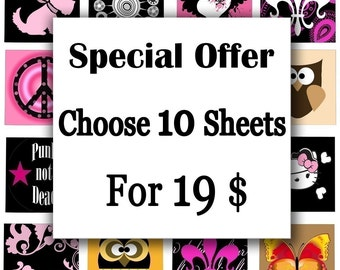 Offer ....Choose 10 sheets for 19 dolars (any size available) Bottle Cap Images glass tiles resin pendants stickers