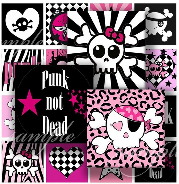 Emo, Punk,Rock Digital Collage ( 336) Sheet 1.5 inch squares for glass tiles,resin pendants, Pebble magnets ,stickers ........