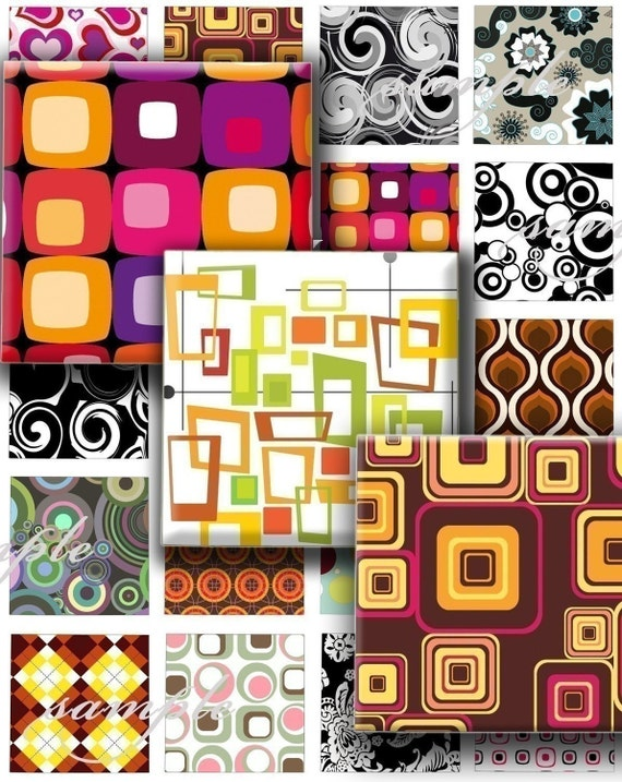 Retro Patterns  Digital Collage ( 093) Sheet 1 inch square images for resin pendants magnets glass tiles stickers ..