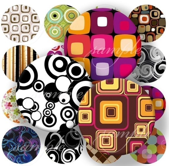 New Retro Oldies Designs  Digital Collage ( 106) Sheet 1 inch Circles Bottle cap images glass tiles resin pendants bottlecaps ...