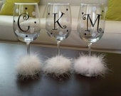 11 Initial Decals for DIY Wine Glass kit * Great for Weddings Parties GNO * Vinyl Letters and Polka Dots * DIY Project * Save Money *