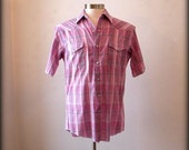 Hipster Mens Western Shirt with Pearlized Snaps / Pink Plaid / Short Sleeves / M