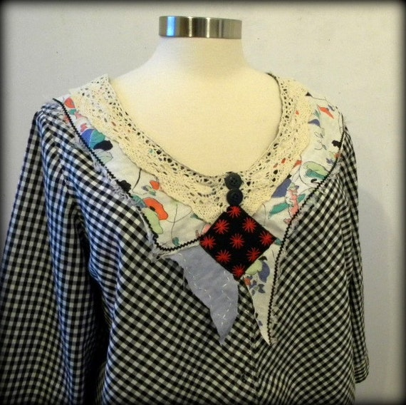 SUMMER SALE.  Plus Size Blouse.  Size 22.  Romantic, Creative, Upcycled Clothing