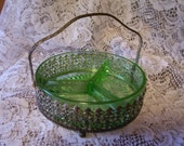 Beautiful Green Depression Glass Silver Server Divided Dish Art Deco Collectible Glass Home Decor