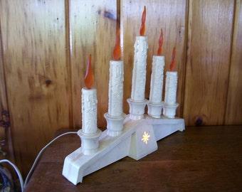 Vintage Christmas Empire Candelabra Candle Lights w/Orange flame Bulbs 1950's Retro