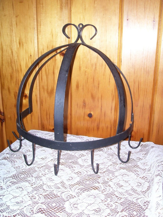 Antique primitive cast iron kitchen wall pot rack by for Reclaimed wood pot rack