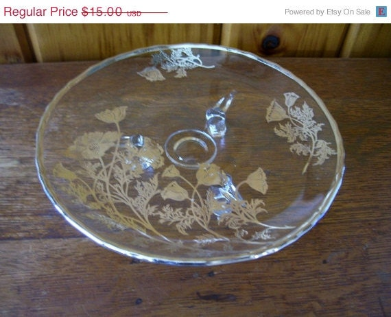 Art Deco Antique 1940's Fostoria Sterling Silver Overlay Glass 3 Footed Plate