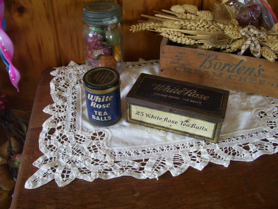 On SaLe Two Antique Tins White Rose Tea Tins Adorable Kitchen Collectibles Advertising Tins