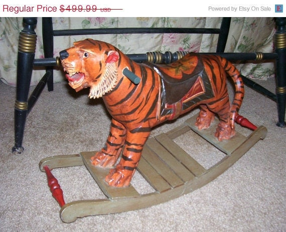 Antique Rocking Tiger Hand Carved Wood Bengal Gorgeous