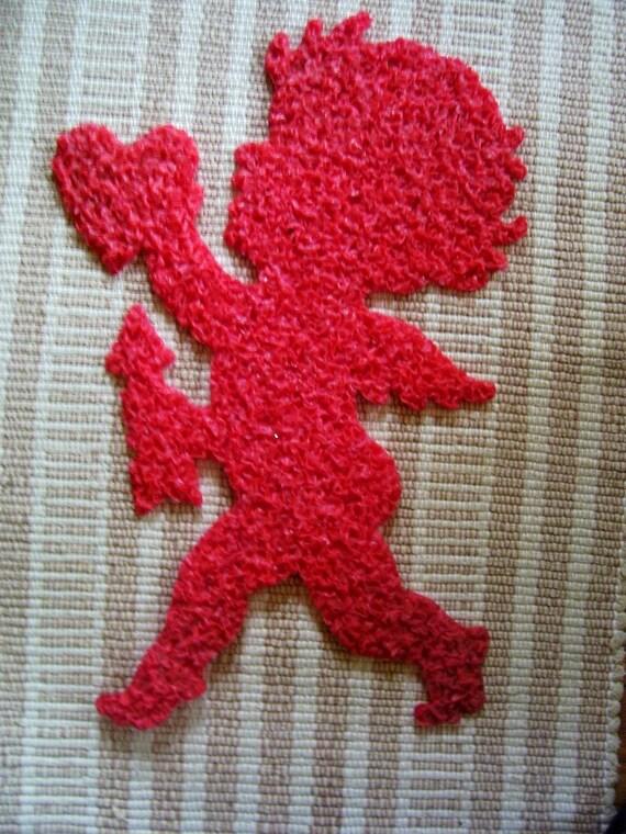 On SaLe Vintage Valentine's Day Red Cupid Melted Plastic Popcorn Decoration