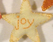 Star Ornaments Set of 5 - Joy - Hand Embroidered