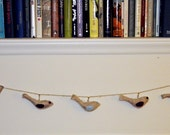 ON SALE Rustic Dove Garland - Maroon Red / Light Blue