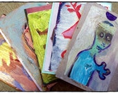 Hand Painted Postcards Set of 5