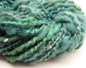 Super bulky handspun yarn in hand dyed merino wool, alpaca and silk with freshwater pearls- 33 yards
