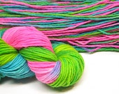 Handpainted yarn, worsted/ aran weight merino wool, 170 yards -  3.6 ounces/ 104 grams