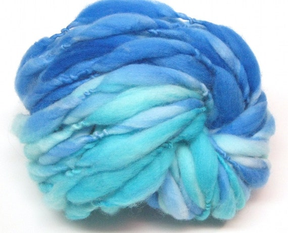 Handspun ombre yarn in hand dyed thick and thin merino wool - 30 yards, 1.9 ounces/53 grams