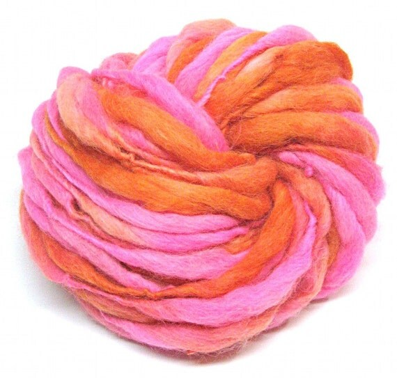 Handspun yarn spun thick and thin in alpaca and merino - 26 yards, 1.9 ounces, 56 grams