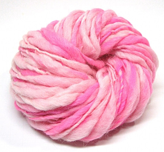 Handspun super bulky pink yarn, spun thick and thin in alpaca and merino wool  - 50 yards, 2.15 ounces, 61 grams