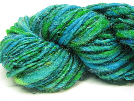 Handspun yarn in hand dyed merino wool, alpaca, silk and mohair-  68 yards, 1.5 ounces/ 43 grams
