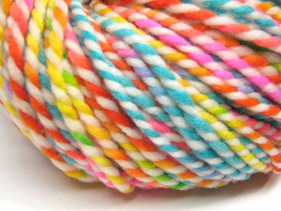 Super bulky rainbow yarn in hand painted merino wool - 120 yards, 5.4 ounces/ 155 grams