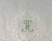 2 Monogrammed Fancy Crest Linen Guest Towels